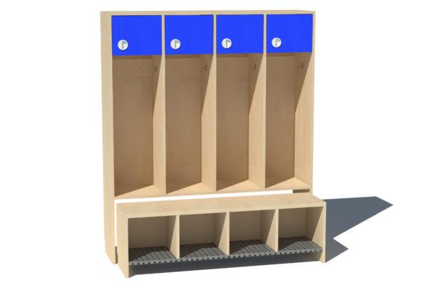 Garderoobikapp Kessu 4-ne lühike uks sinine metallrest