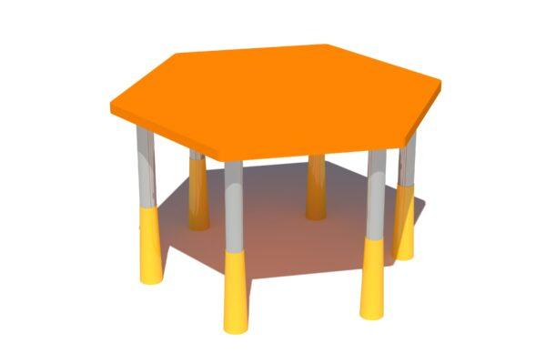 Kuusnurkne lastelaud Lennart oranz