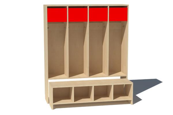 Garderoobikapp 4-ne Kaspar punane lühike uks vineerplaat