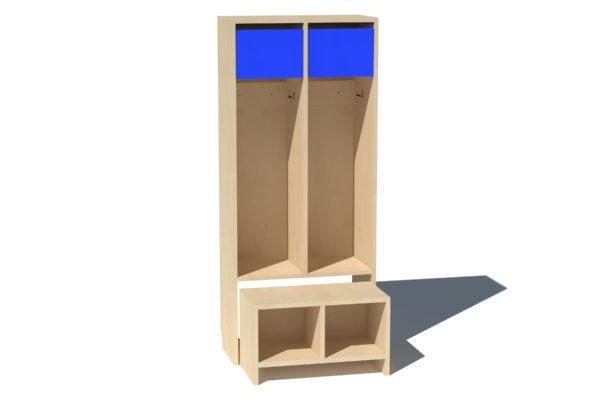 Riidekapp Kaspar 2ne lühike uks sinine vin.plaat